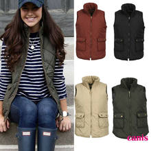2019 Brand New Style Women Puffer Padded Solid Vest Jacket Gilet Ladies Sleeveless Casual Coat Snowsuit Jacket(China)