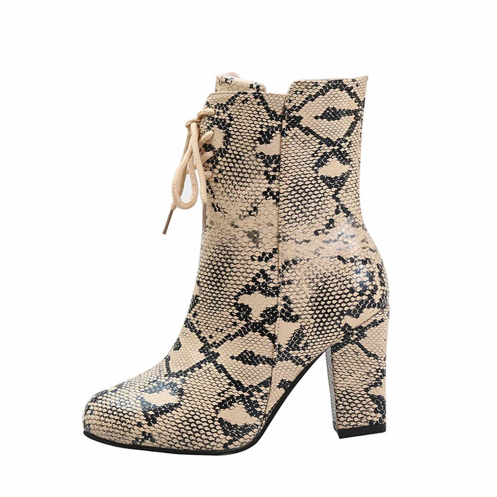 Donne di Avvio Del Serpente Stampati di Alta Tacco Stivali Con Zip Alla Caviglia Stivali di Pelle Femminile stivali Piattaforma Punta a punta Stivaletti Zapatos De Mujer 2019