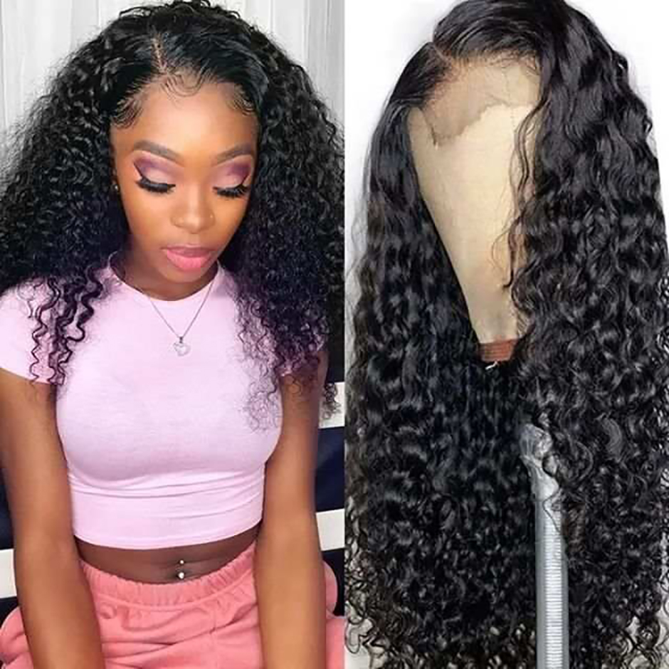 HD Lace Wigs Human-Hair Ali Bff Water-Wave Transparent Bleached Knots Pre-Plucked Remy-Wig
