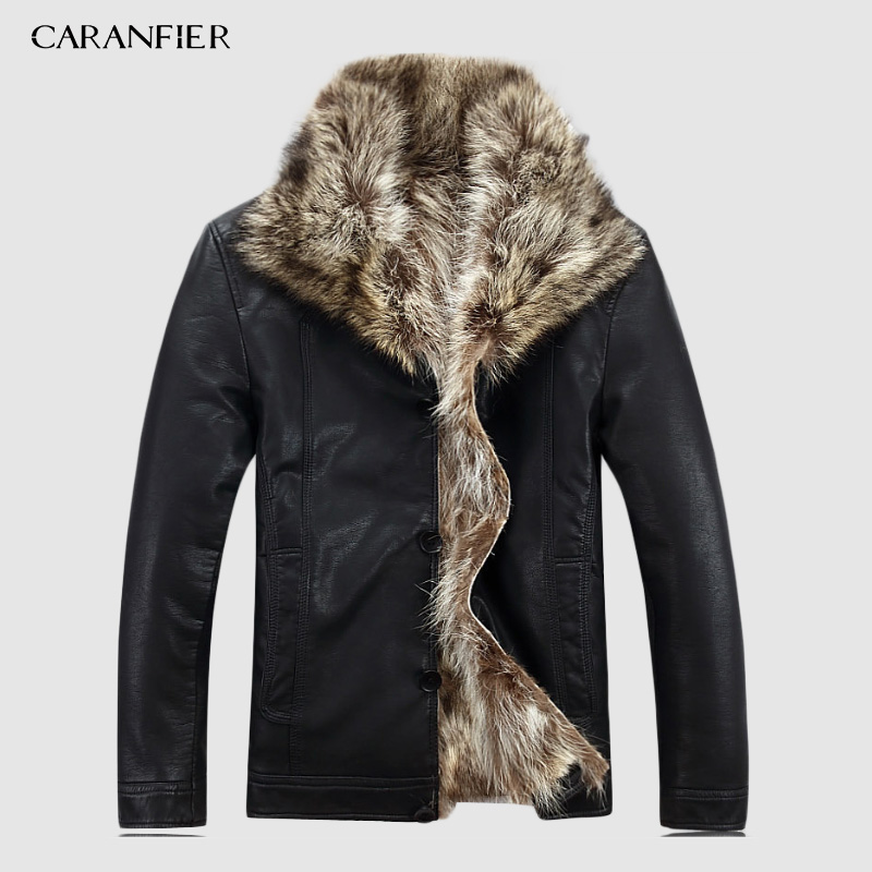 CARANFIER Luxury Mens Leather Jacket Coat 100% Raccoon Fur Fashion Men Winter Leather Jacket Man Clothes Warm Coat Fur Coat Male