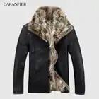 CARANFIER Luxury Mens Leather Jacket Coat 100% Raccoon Fur Fashion Men Winter Leather Jacket Man Clothes Warm Coat Fur Coat Male