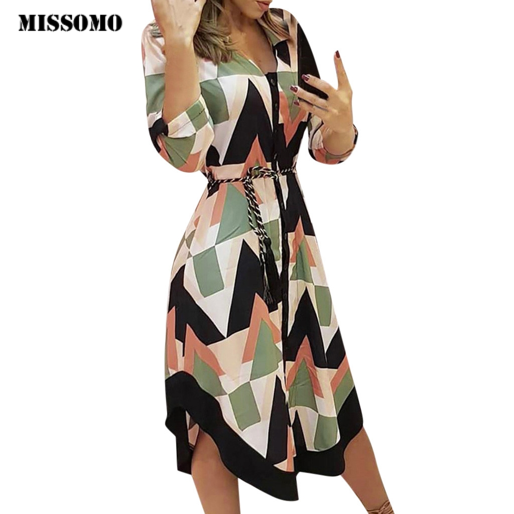 MISSOMO Vestidos party dress Women dresses Holiday Style Feminino Print Casual Plus Size bandage dress Ladies Dresses robe femme
