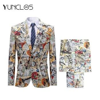 YUNCLOS Men 2 pcs Suits Colorful Printing Jacket Pants Party One Buckle Men Suit Tuexdo Traje Slim Fit Hombre Fashion Graffiti