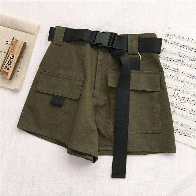 Genayooa Streetwear Shorts Women Fitness Korean Summer Woman High Waist Wide Leg Cargo Women's Shorts Feminino Pocket 7