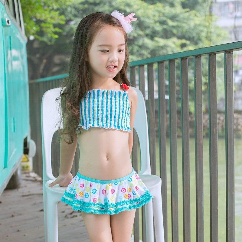 New Style KID'S Swimwear Infants Large Children Blue Cartoon Small Beetle Cute GIRL'S Hot Springs Split Type Swimwear