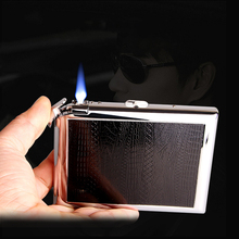 20 палочек чехол для сигарет с прямыми в синий Fmale Зажигалка Портативный простой стиль металлический сплав чехол для сигарет