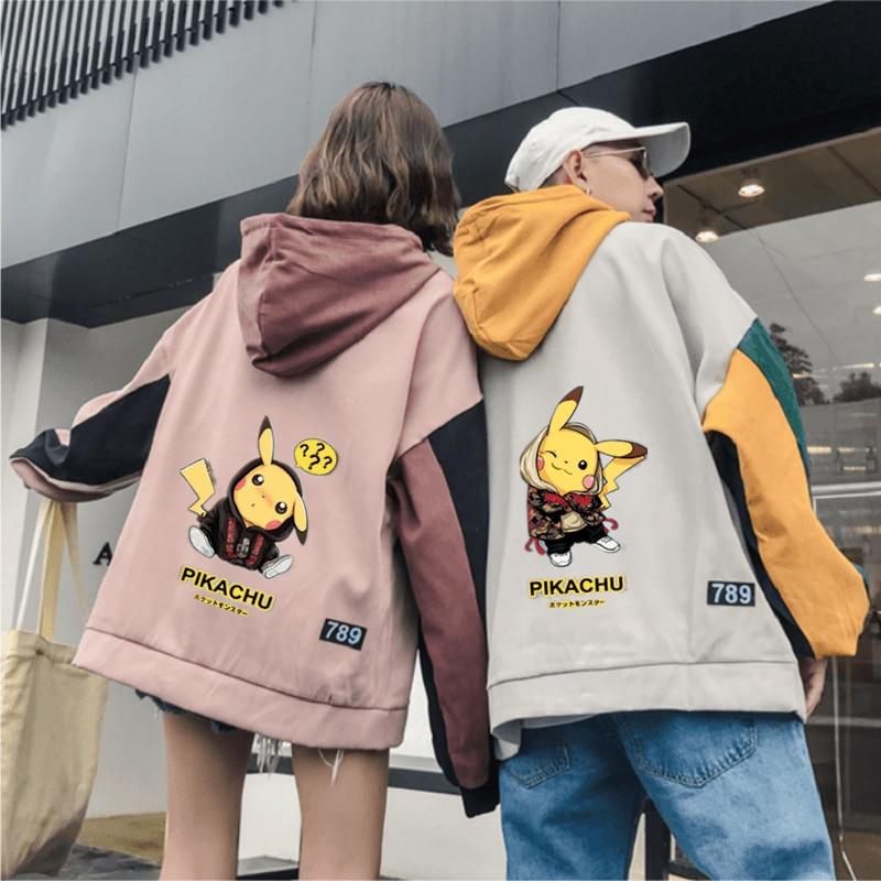 Pokemon Hoodie Anime Pikachu Pullovers Coats Casual Autumn Winter Couple Hoodies Sweatshirt Cute Japan Cartoon HOODIE Men Women