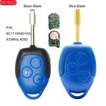 KEYECU clé télécommande à 3 boutons, 433MHz, transpondeur 4D63, pour voiture Ford Transit WM VM 2006  2014 P/N: 6C1T15K601AG