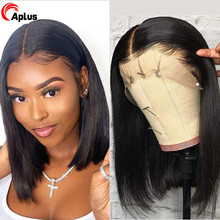 Straight Middle Part Bob Transparent Lace Frontal Wigs Prepl