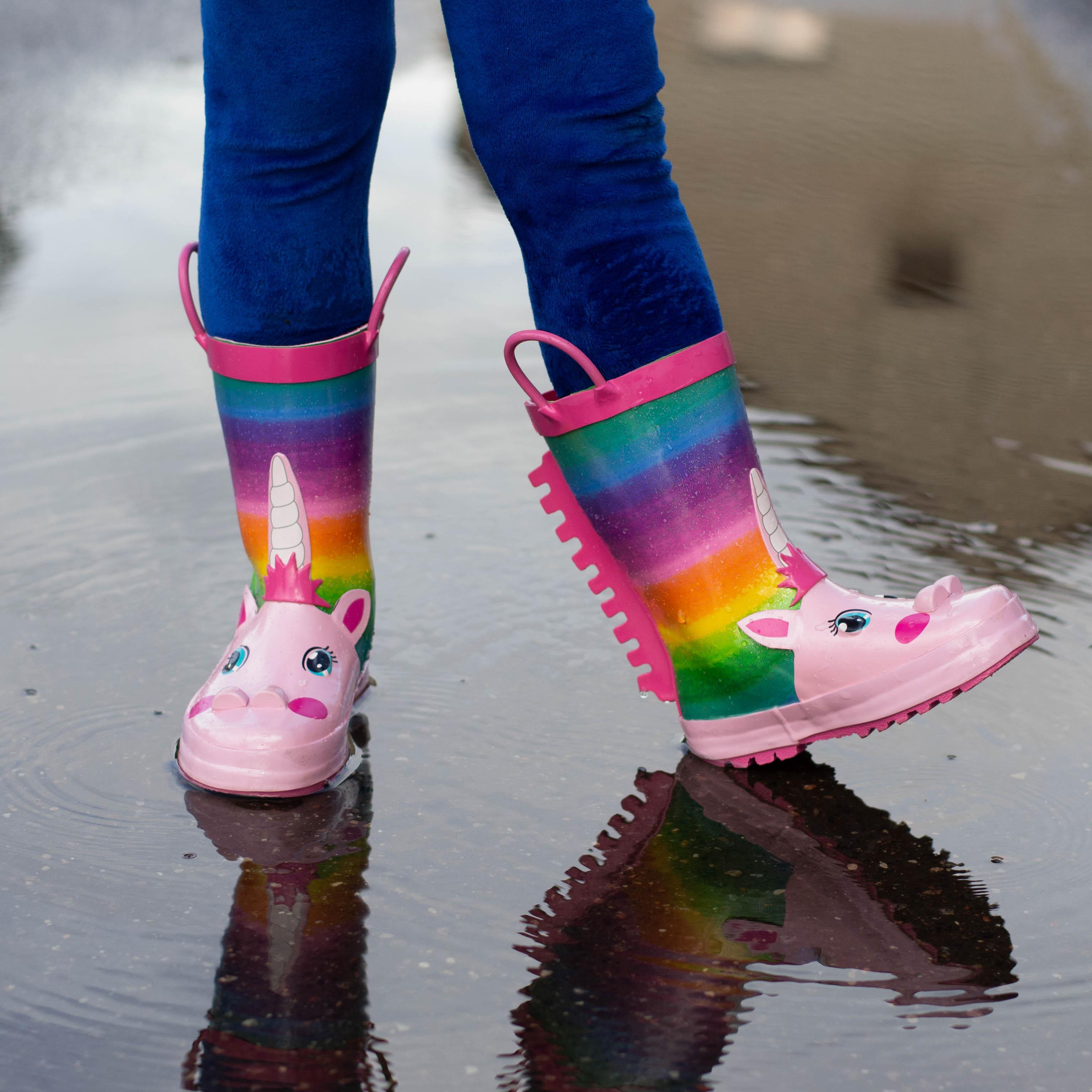 KushyShoo Kalosze dziecięce tęczowa opaska jednorożec Kalosze dziecięce Kalosze Dla Dzieci wodoodporne dziecięce buty do wody
