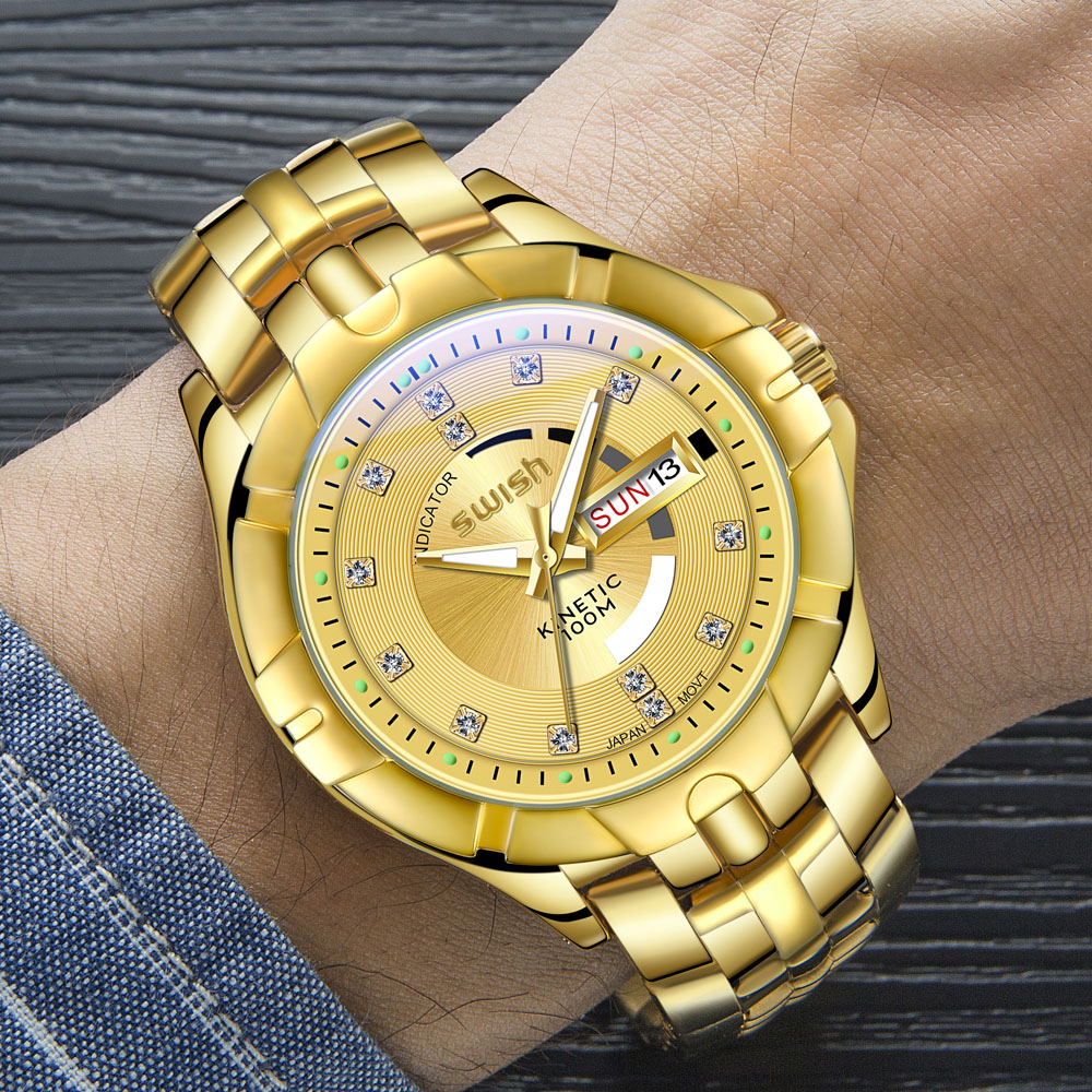 Golden Bracelet Watches for Men Top Brand Luxury Geneva Designer Quartz Wristwatches Rolexable Diamond Dress Watch Man Relogio