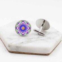 Hot classic mandala flower glass cufflinks Europe and the United States mens popular shirt jewelry