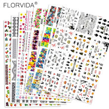 FlorVida 12pcs Kit 5*6cm Water Transfer Stickers Ultra-Thin Nail Art Flower letter Slider Lace Butterfly Tips Manicure Decal Set
