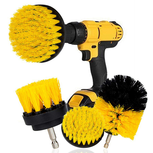 3Pcs Round Full Electric Bristle Drill Brush Rotary Cleaning Tool Set Scrubber Cleaning Tool Brushes Car Wash Tool