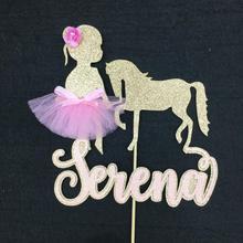 Персонализировать имя номер балерина лошадь вечерние центральным выбрать принцесса день рождения торт топперы для душа ребенка