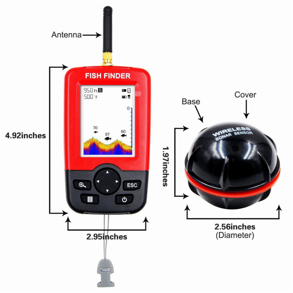 Outdoor Portable Smart Depth Fish Finder with 125 KHZWireless Sonar Sensor Sounder ABS Fish Finder Range 100 M Fishing Tool in Fish Finders from Sports Entertainment