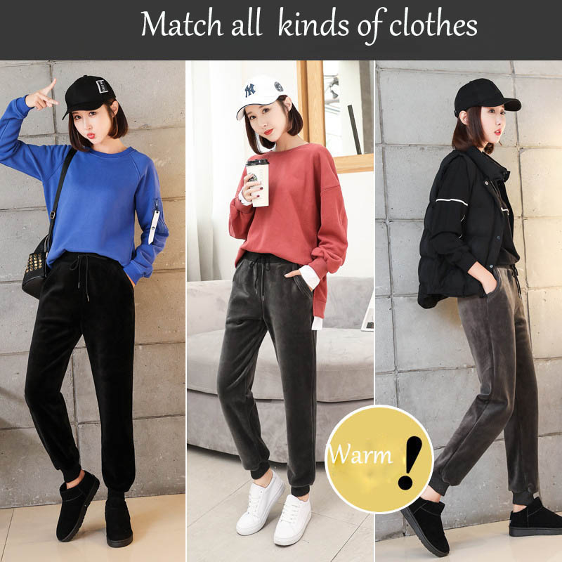 2019 Women Winter  Large Size Warm Plus Velvet Solid Leisure Sports Womens Casual Harem Style Pant
