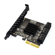 بطاقة توسيع PCI Express x4 ، محول PCI e ، 6 منافذ ، SATA 3.0 إلى PCI Express x4 ، وحدة تحكم PCIe PCI e SATA لـ HDD ASM1166