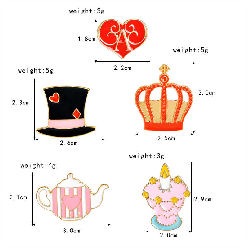 Alice In Wonderland Pin Film Kartun Turunan Bros Lencana Tas Aksesoris Enamel Perhiasan Hadiah untuk Penggemar Teman