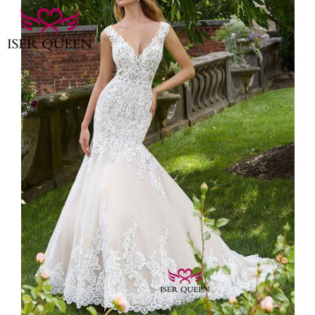 Embroidered Lace On Net Sexy V-neck Mermaid Wedding Dresses Button Illusion Court Train 2020 Vestidos Para Boda Civil W0651
