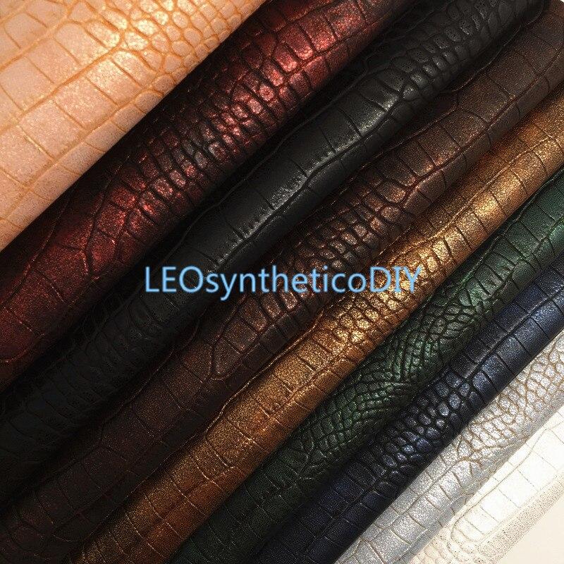 1 шт. 21 х29 см ткань из искусственной кожи крокодила с металлическим покрытием, синтетические кожаные листы, искусственная кожа для изготовле...