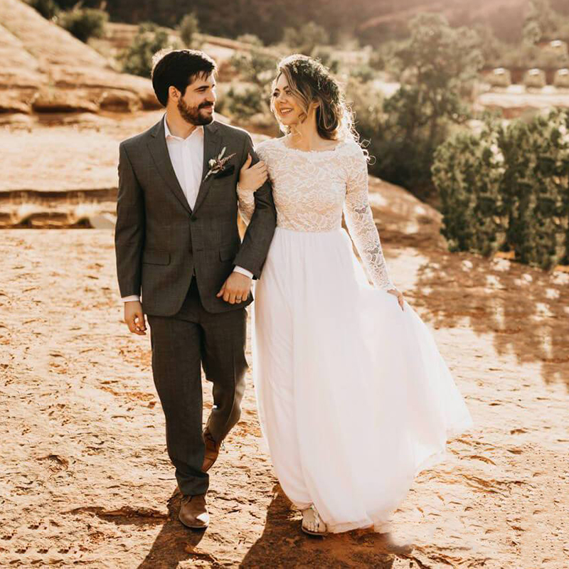 Beach Wedding Dress 2020 Modest Long Sleeve White Tulle Lace Dress Bridal Bohemian Wedding Gowns Vestidos De Novia Trouwjurk
