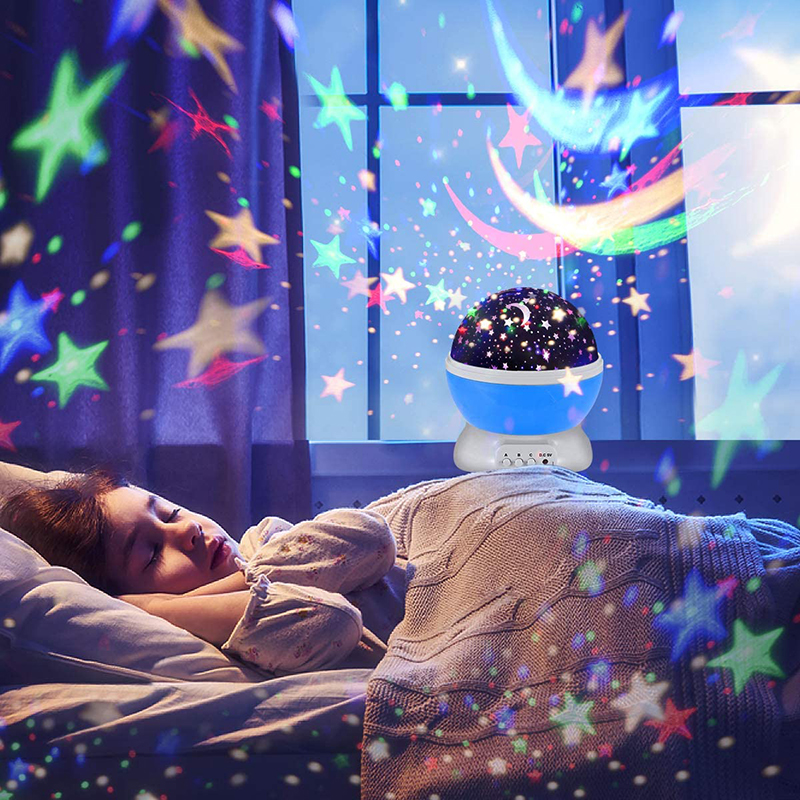 ZK50 LED Projector Star Moon Nights Baby Night Lights Moon 360 Degree Rotation 10 Color Changing Romantic Night Lighting Lamp