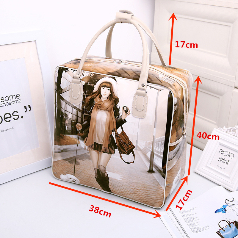 Image 2 - PU Leather Travel Bag Women Girl Cute Duffle Pouch Weekend Overnight Cartoon Shoulder Tote Portable Luggage ItemTravel Bags   -