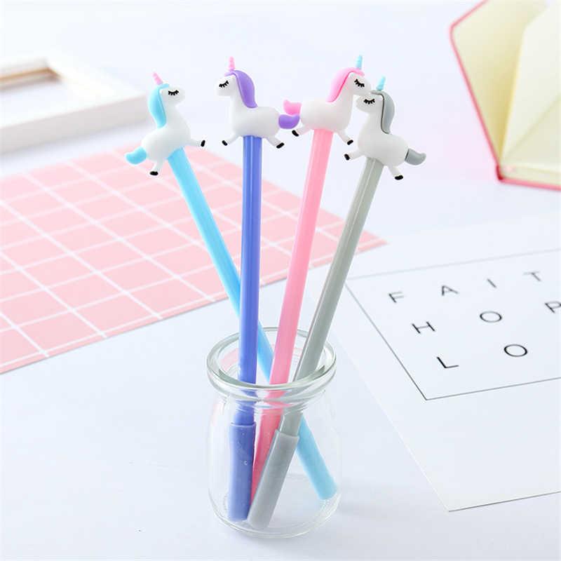 1pcs เกาหลีเครื่องเขียนน่ารัก Kawaii Unicorn Horse Angel เจลปากกาโรงเรียนซัพพลายของขวัญนวนิยายจับปากกา Kawaii สำหรับการเขียน
