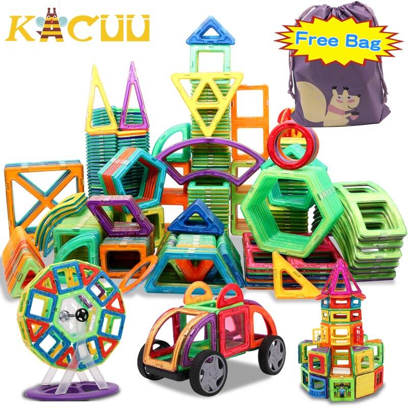 Ücretsiz çanta büyük boy manyetik tasarımcı inşaat seti modeli ve bina oyuncak mıknatıslar manyetik bloklar eğitici oyuncaklar çocuklar için