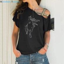 Summer Fashion Creative Horse cotton T-shirt print womens t shirt casual funny T Shirts Irregular Skew Cross Bandage Tops Tee