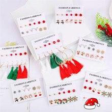 8 Design Santa Claus Christmas Earrings Set Fashion Long Tassel Snowman Deer Bell Xmas Gift for Women Female Jewelry