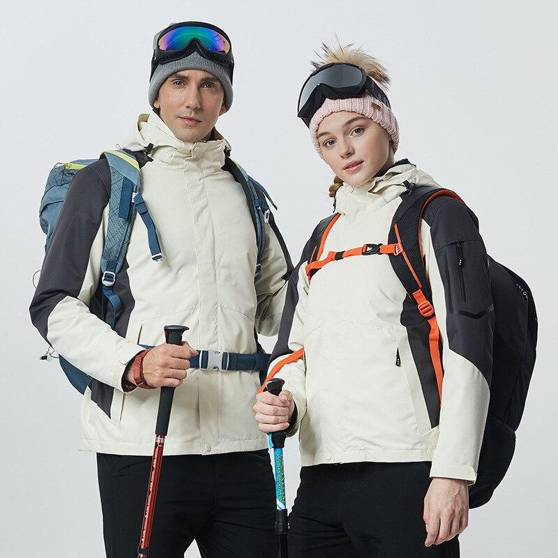 Winter Men Women Ski Jacket Outdoor Hiking Suit Waterproof Plus Velvet Snowboard Jacket Skiing Coat Warm Windproof Thicken
