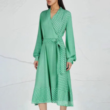 2019 New Dress Holiday Style Wrapped V-Neck Lace Printing Long Sleeve Green Women Puff Print women dress