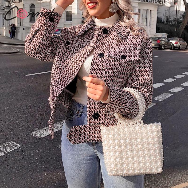 Conmoto Autumn Winter 2019 Tweed Women Blazer Coat Vintage Elegant Short Blazer Coat Button Retro Ladies Blazers Coat Outwear