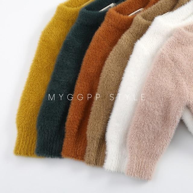 Girls' Sweaters Winter Wear New Style Imitation Mink Jacket Sweater 1-3 Year Old Baby Warm Coat Kids Sweaters 5