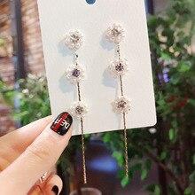 MENGJIQIAO New Elegant Pearl Flower Long Tassel Drop Earrings For Women Girls Fashion Crystal Brincos Jewelry Ear Accessories
