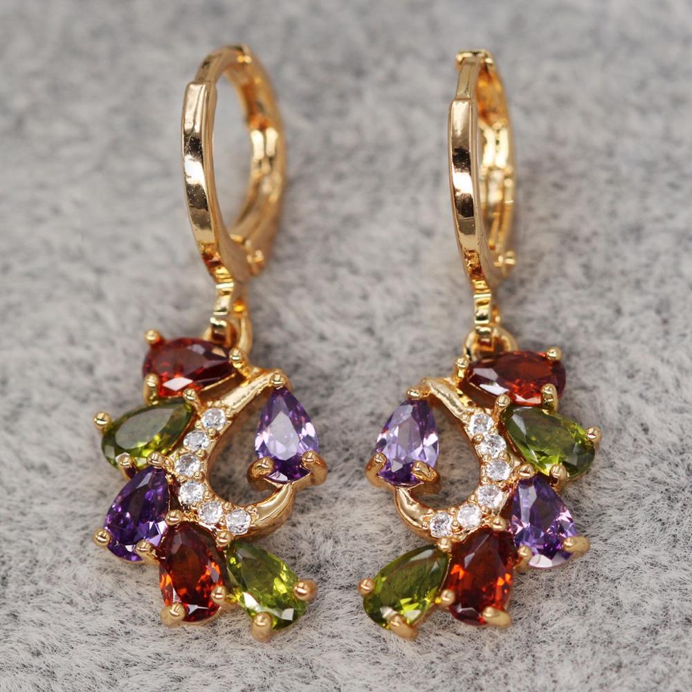 Bohemia Dangle Drop Earrings for Women's earrings rainbow Color Earring With Waterdrop Zircon Luxury Jewelry for Wedding Party|Drop Earrings|   - AliExpress