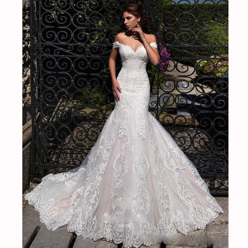 Custom Made Off The Shoulder Mermaid Dress Lace Appliques Wedding Dresses With Sweep Train Bridal Gowns Plus Size Robe De Mariée