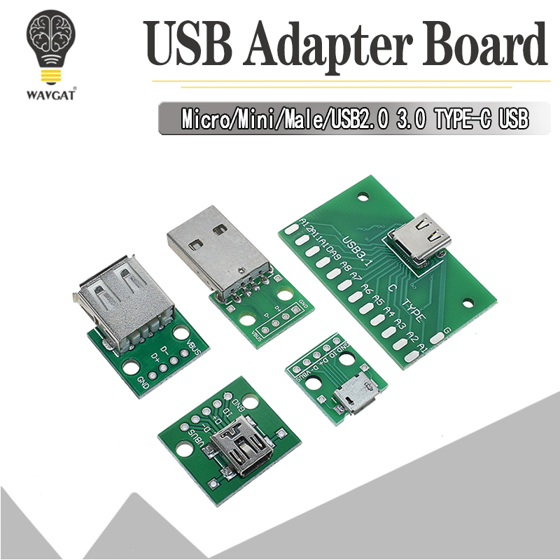 5PCS USB Male Connector / MINI MICRO USB To DIP Adapter Female Connector 2.54 Connector B Type-C USB2.0 3.0 Female PCB Converter