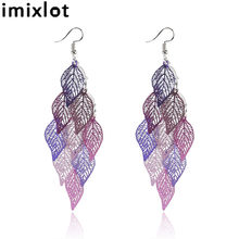imixlot Colorful Hollow Leaf Drop Earrings Multilayer Leaf Earrings Personalized Shiny Long Tassel Ear Piercing Jewlery(China)