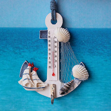 Presente criativo âncora de madeira termômetro artesanato arte parede pendurado gancho medidor escudo náutico decoração da casa do vintage