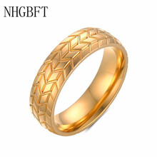 NHGBFT 6MM Classic Gold Color Tire Ring For Men Stainless Steel Punk Rings Wedding Jewelry Dropshipping