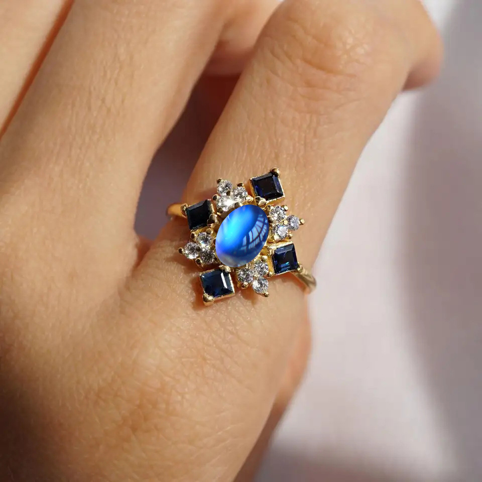 14K Gold Filled Ring for Women Anillos De Bizuteria Bague Diamant Natural Moonstone Gemstone 14k Gold Jewelry Obsidian Rings Box