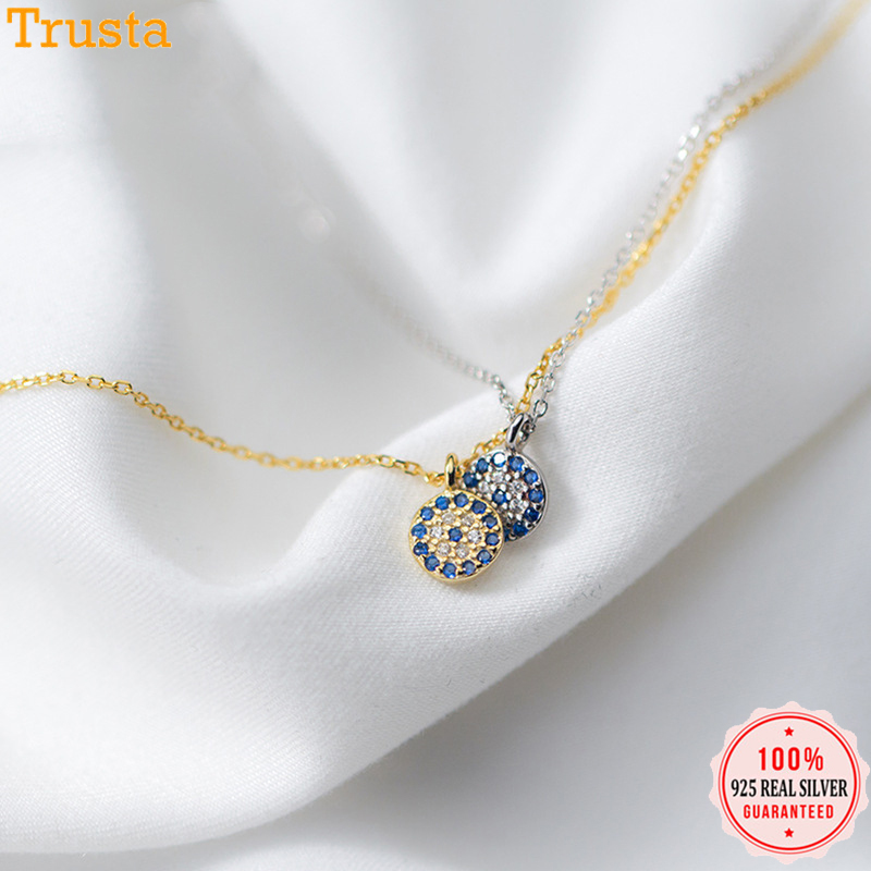 Trusta 2018 100% 925 Solid Sterling Silver Jewelry 6mm Blue Eye Pendant 40cm Short Clavicle Necklace Cute Gift Girl Lady DS902