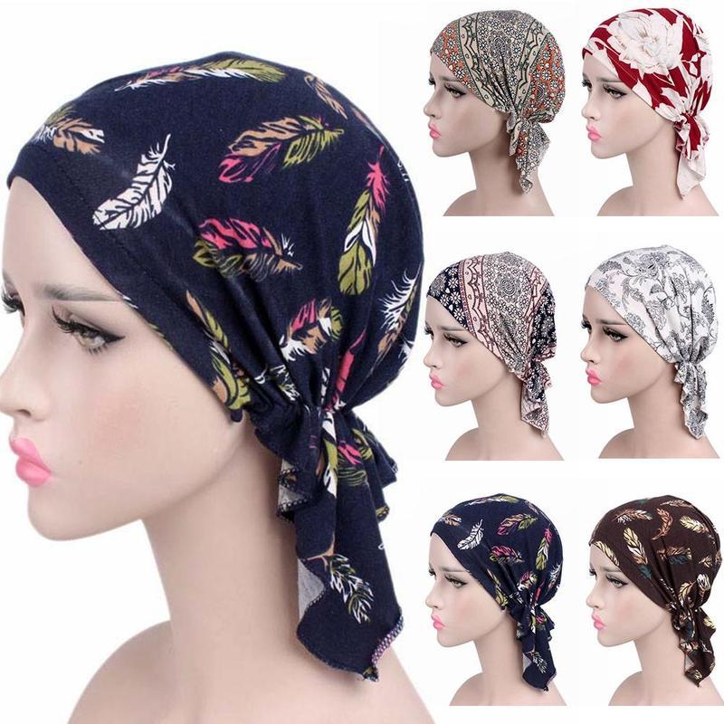 NEW Fashion Women Flower Muslim Ruffle Cancer Chemo Hat Beanie Scarf Turban Head Wrap Cap Printed Headwear Lady Hats