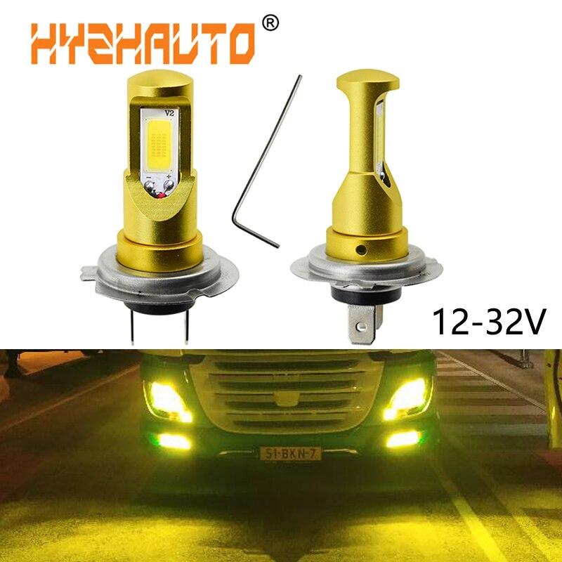 HYZHAUTO 2Pcs H7 24V Bulbs Truck LED Headlight Fog Lamp Super Bright 2400Lm White Yellow 12-32V