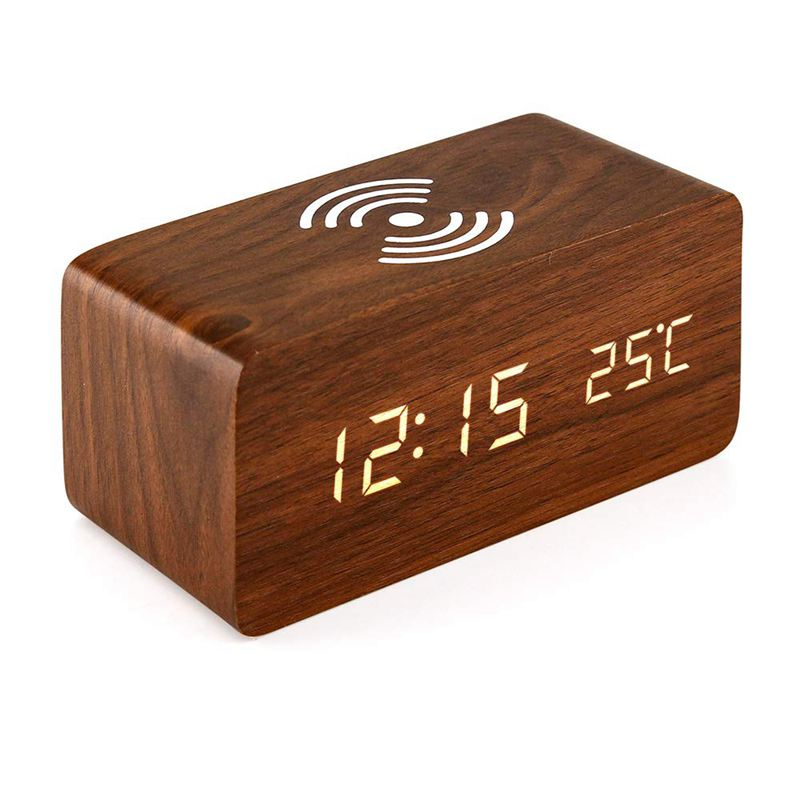 Alarm Clock With For Qi Wireless Charging Pad Compatible With For Iphone Samsung Wood Led Digital Clock Sound Control Function,