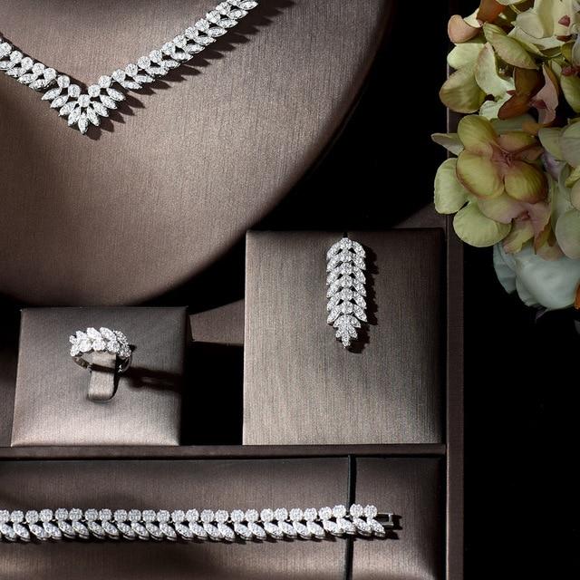 HIBRIDE luxe complet cubique Zircon femmes ensemble de bijoux Dubai boucle doreille collier ensemble bijoux accessoires collares de moda 2020 N-1329
