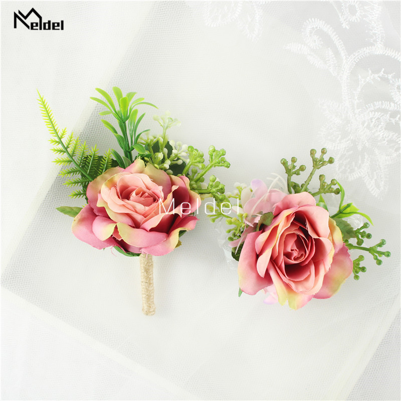 Artificial rosa flor noivo boutonniere homem corsage botões bridasmaids pulseira flores de casamento homem terno festa decoração